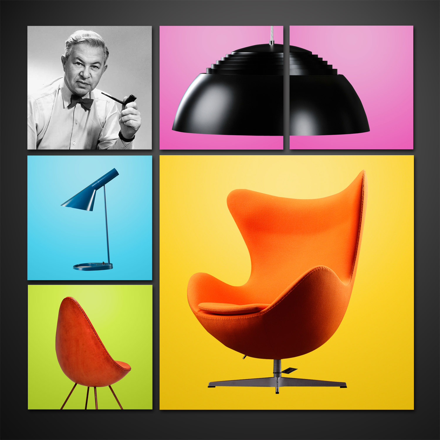 arne jacobsen collage. Black Bedroom Furniture Sets. Home Design Ideas